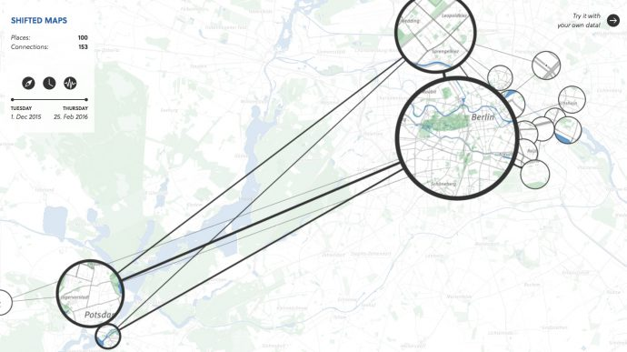 Shifted Maps visualizes personal movement data as a network of map extracts showing visited places.